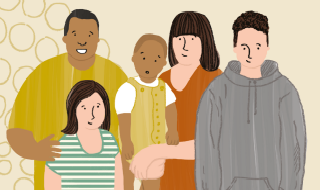 Illustration showing a family group with parents, teenagers and baby.