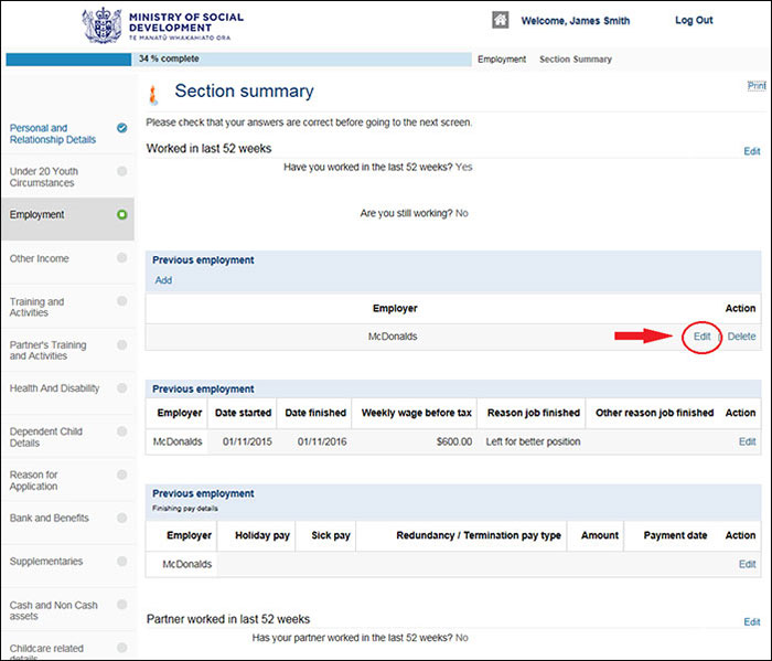 Screenshot of Apply Online - Employment Section Summary page