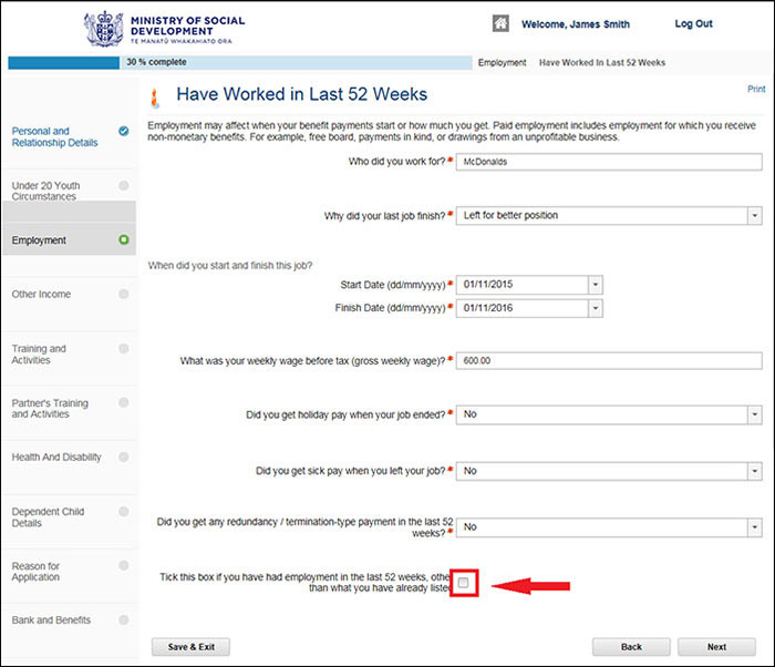 Screenshot of Apply Online - Employment page