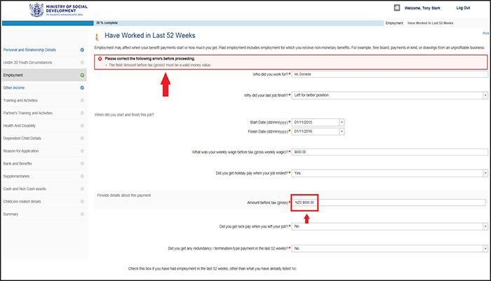 Screenshot of Apply Online - Entering employment income page