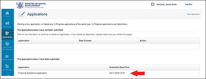 Screenshot of Apply online - submitted applications - date submitted